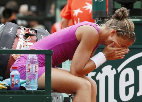 Italy's Sara Errani reacts after winning